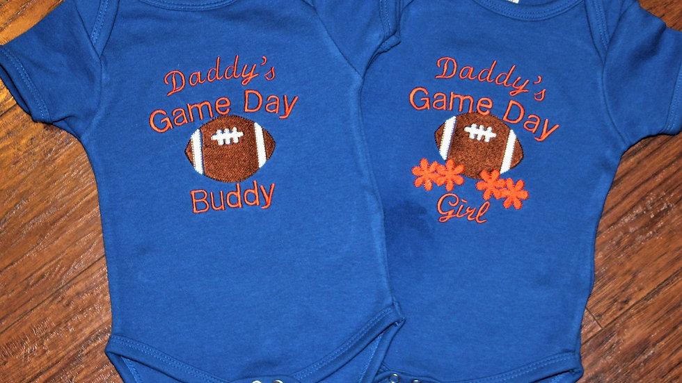 Daddy's football girl Daddy's football buddy orange and blue