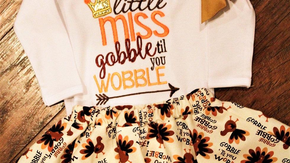 Gobble til you wobble girl turkey shirt and skirt