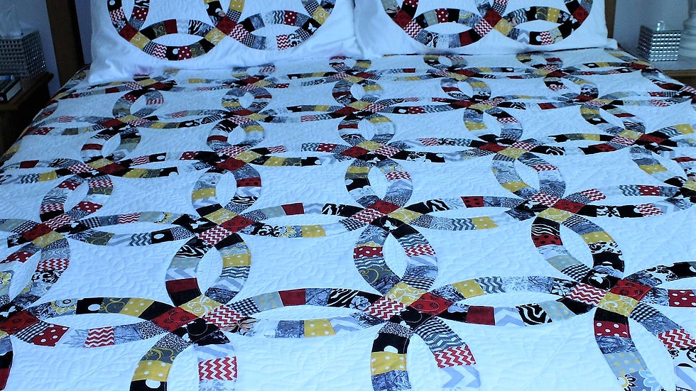 King size double wedding ring quilt, queen size quilts full size quilt