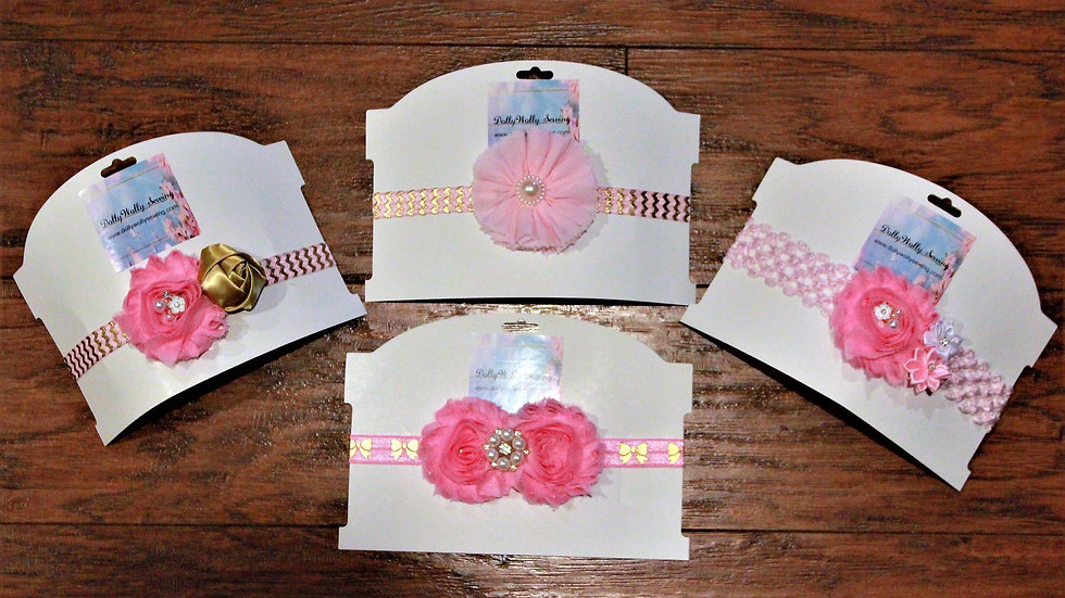 Pink headbands flower girl baby shower gifts for girls