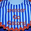 Thumbnail: I Drool orange and blue baby boy blue football bodysuit