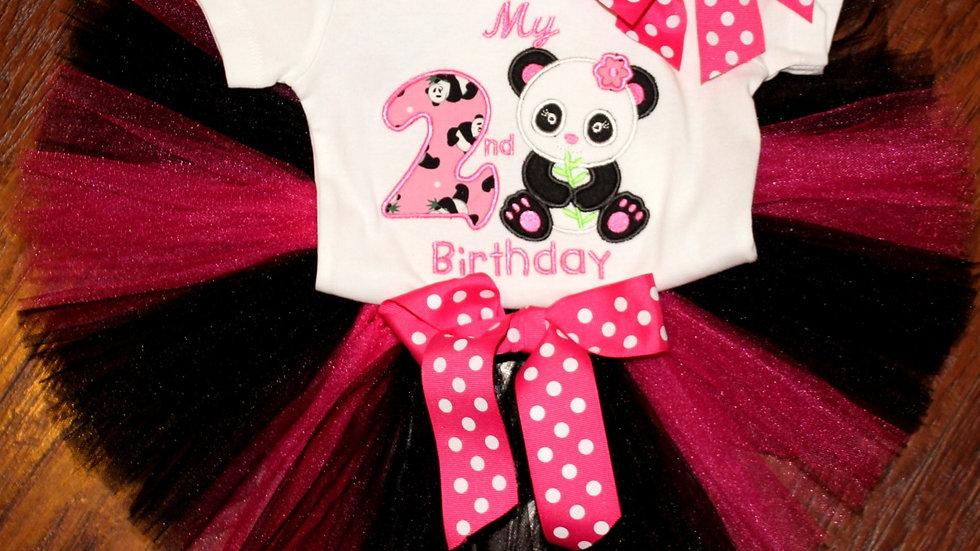Girl 1st or 2nd birthday hot pink and black panda bear shirt tutu headband