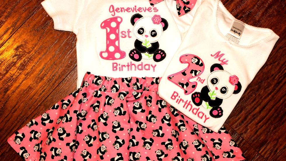 Girl 1st, 2nd, Panda party birthday outfit hot pink  panda bear skirt