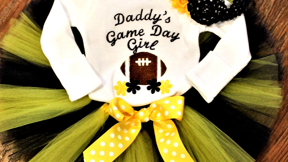 Girl football outfit maize and blue tutu football bodysuit or shirt