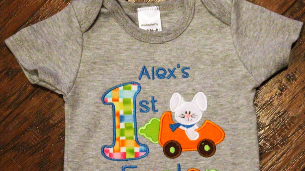 Personalized baby boy 1st Easter bunny bodysuit gray or white