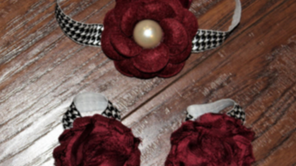 Crimson and cream baby headband baby girl barefoot sandals houndstooth