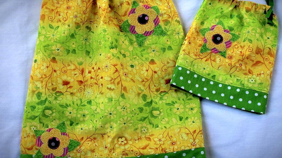"Summer yellow and green pillowcase dress matching 18"" doll dress doll clothes"