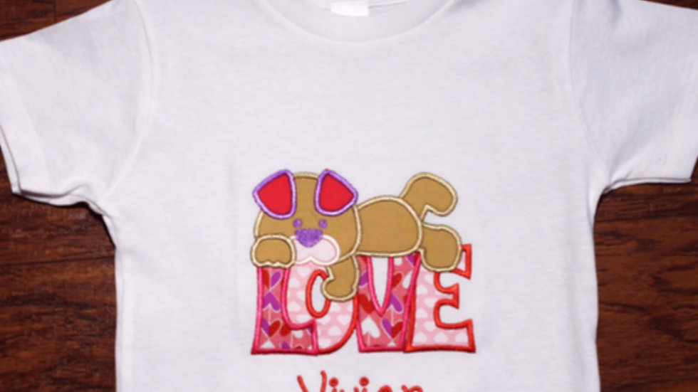 Valentine's Day girl puppy love shirt pink and purple