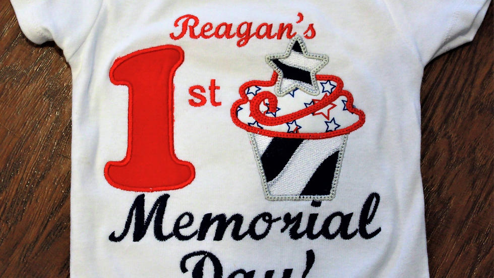 Memorial Day shirt personalized baby girl red white and blue bodysuit