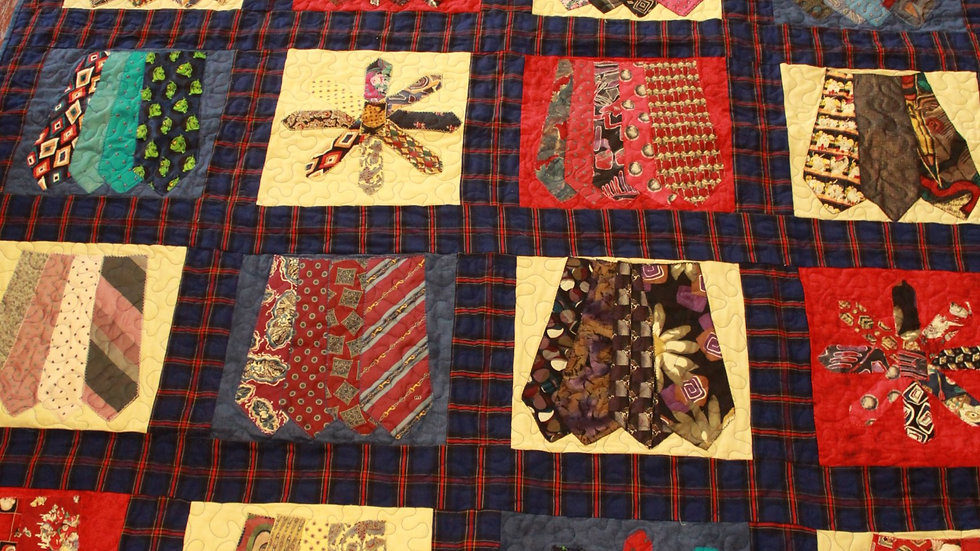 Neck tie quilt made from men's ties memory quilt sympathy gift