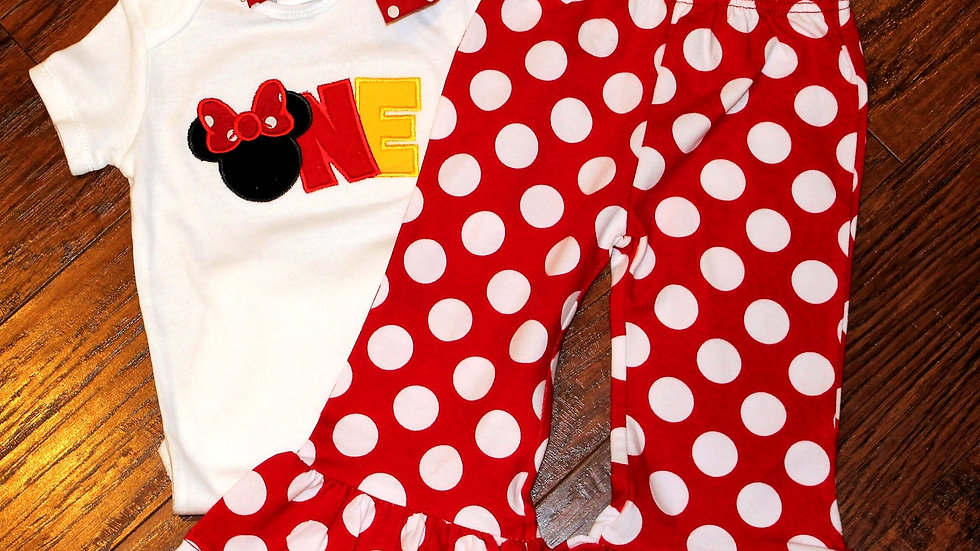 ONE Mouse birthday 1st birthday girl outfit first birthday red white polka dot