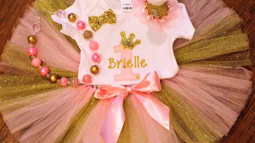 Pink and gold princess 1st birthday personalized first birthday