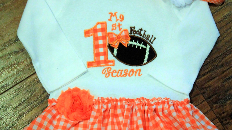 1st football season dress for baby girl orange and white dress