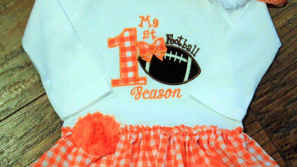 1st football season dress for baby girl orange and white dress