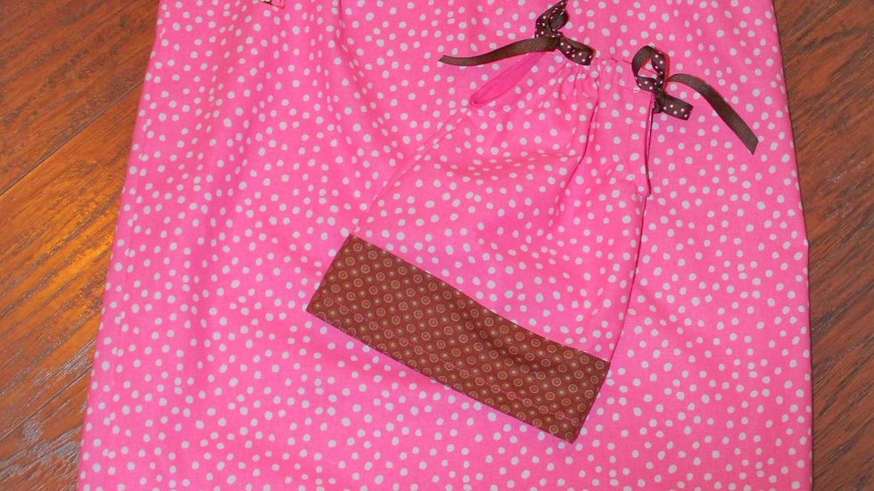 "Girl and doll matching dresses pink and brown pillowcase dress 18"" doll clothes"