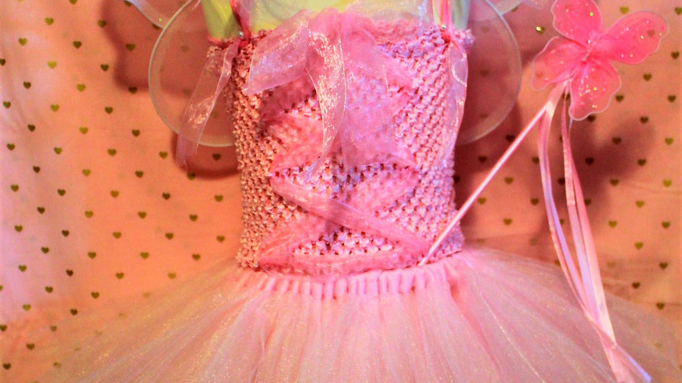 Pink fairy princess Halloween costume pink tutu dress butterfly wings