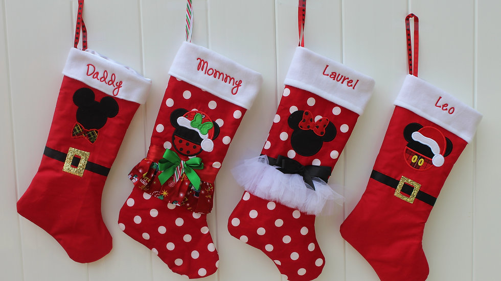 Family personalized Christmas stockings Disney inspired stockings