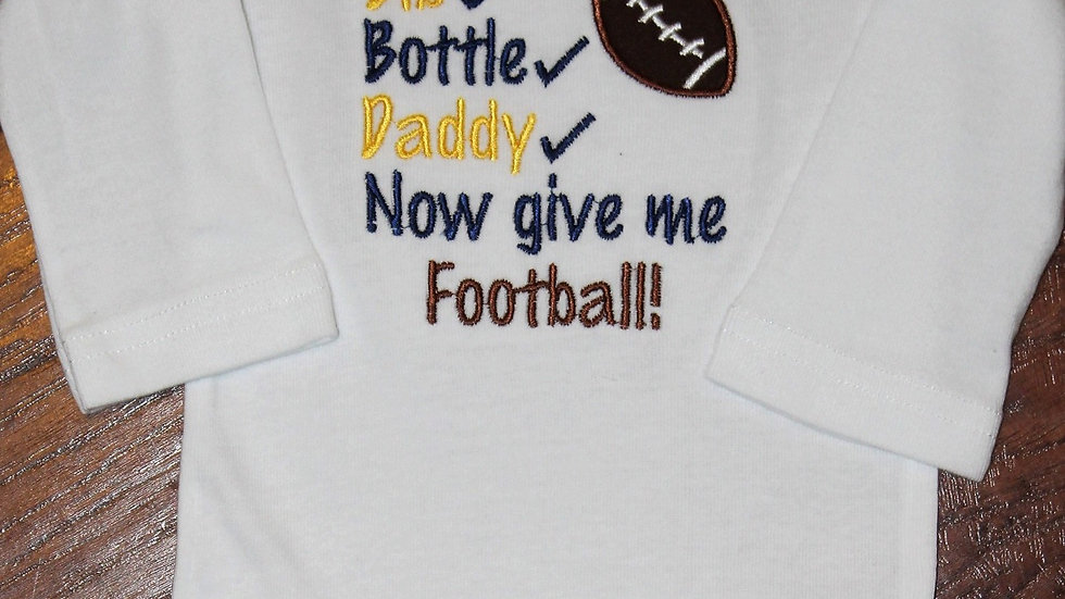 Maize and blue bib bottle Daddy football bodysuit