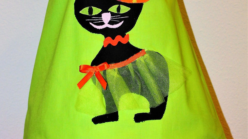 Black cat Halloween dress, toddler girl Halloween dress, pumpkin necklace