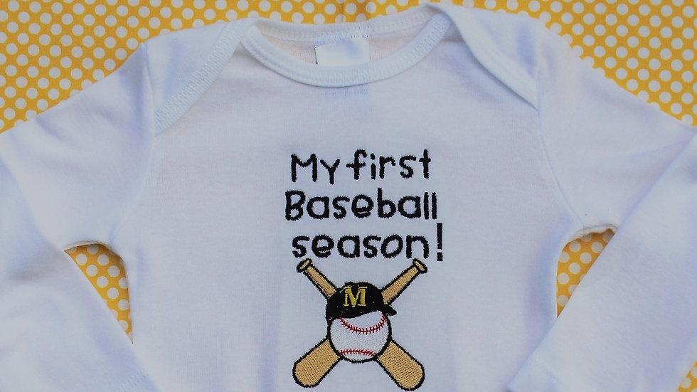 My 1st baseball season bodysuit, maize and blue baseball shirt