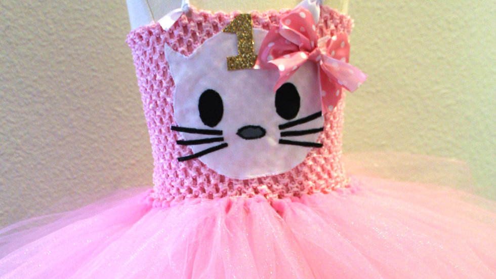 Hello the Kitty 1st birthday pink tutu dress first birthday dress