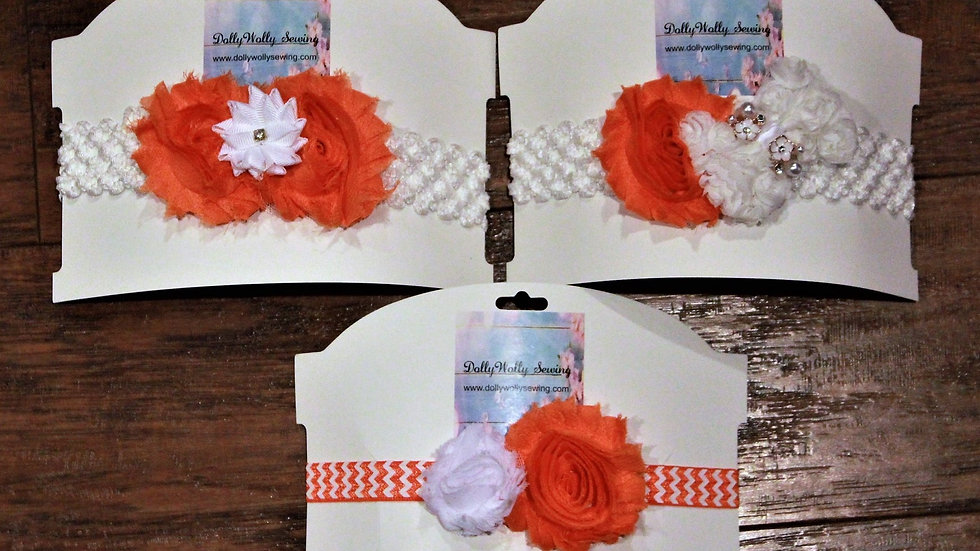 Orange and white college football girl baby girl headband