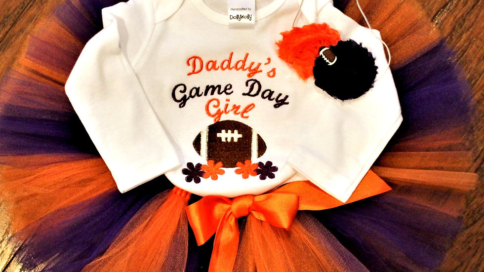 Purple and orange Daddy's game day girl football outfit baby shower gift