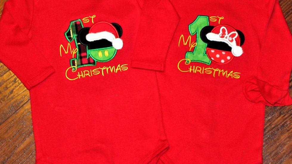Baby boy Baby girl Mouse 1st Christmas bodysuit