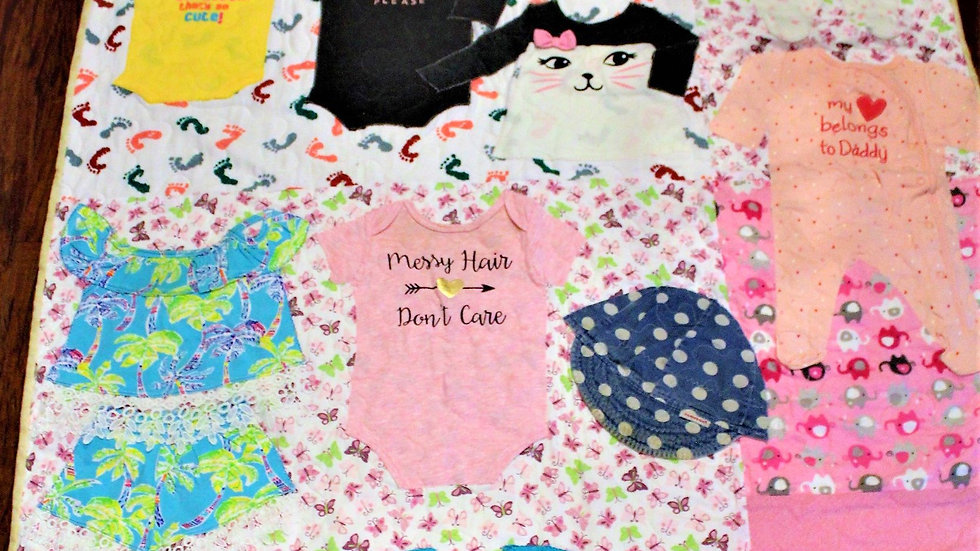 Personalized baby clothes quilt memory first year quilt from clothing