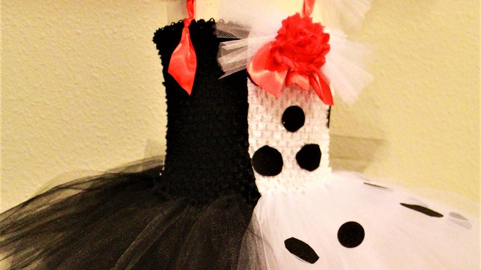 Baby girl Cruella Halloween costume dalmatians villian