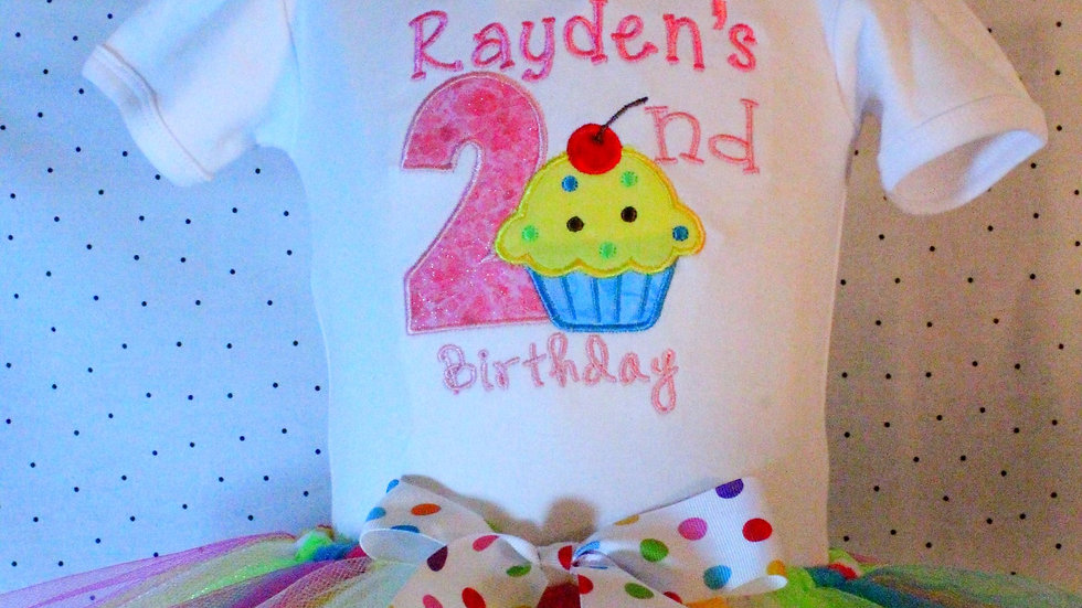 Girl 2nd birthdy outfit cupcake second birthday shirt rainbow tutu
