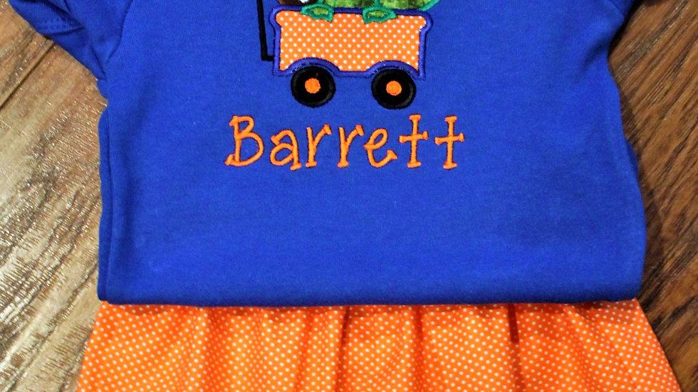 Alligator wagon football bodysuit orange and blue baby shower gift