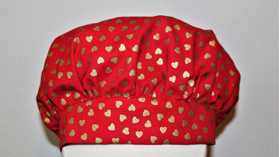 Valentine's Day scrub cap red scrub hat with gold hearts