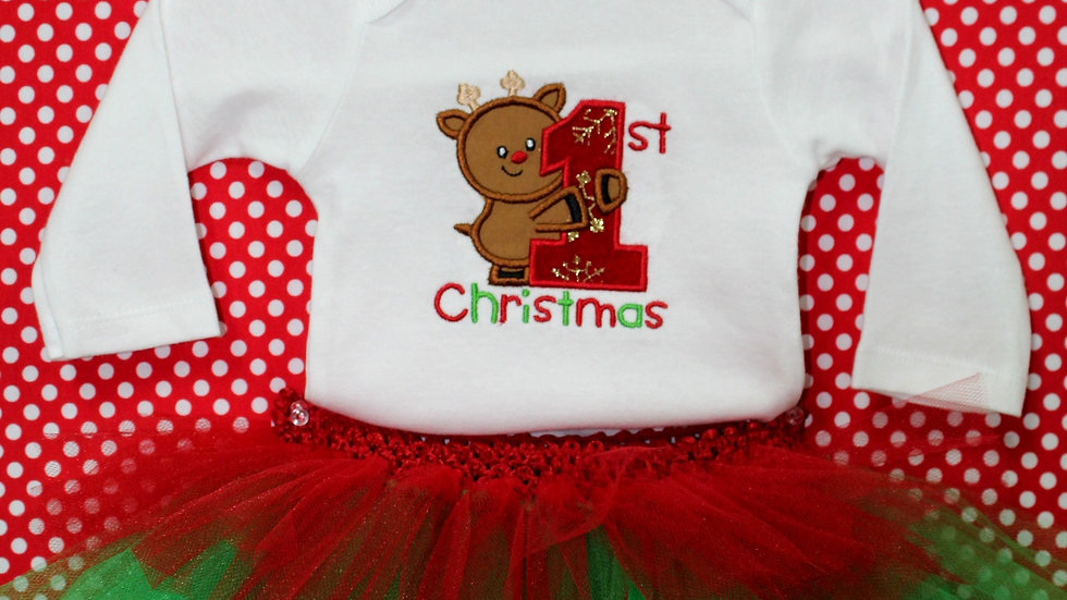 1st Christmas reindeer outfit baby girl first Christmas bodysuit red green tutu