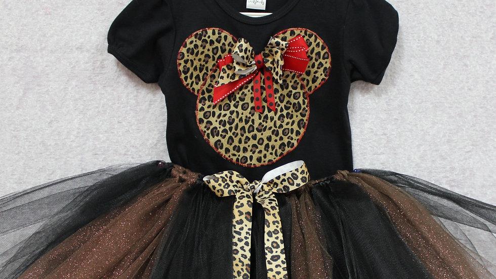 Animal print Mouse outfit Minnie animal print baby girl tutu