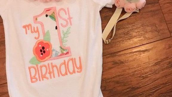 Peach pom pom baby bodysuit My 1st birthday first birthday hat