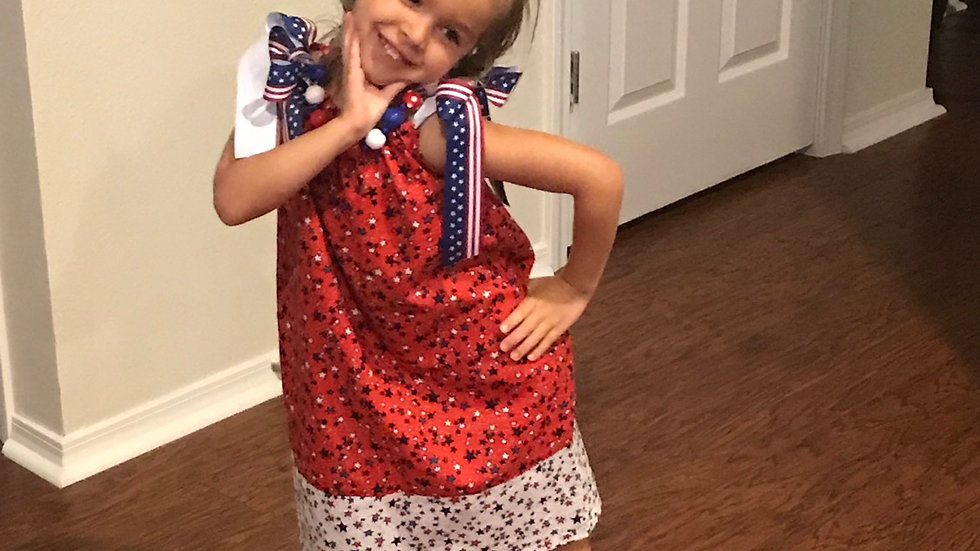 Patriotic girl 4th of July pillowcase dress and necklace