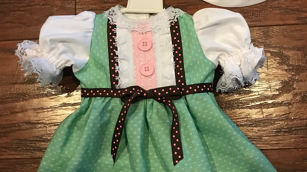 """18"""" doll dress with matching hat  fits AG dolls"""