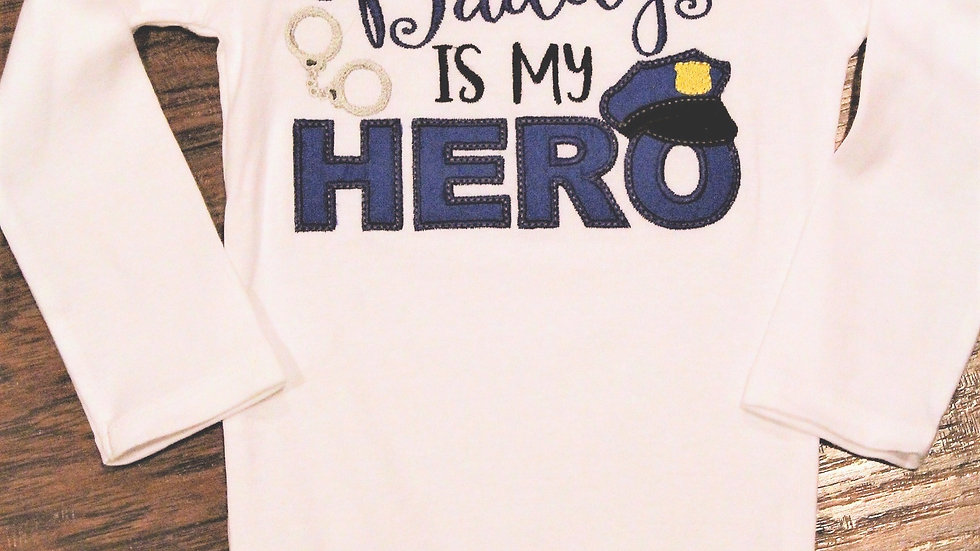 Daddy is my Hero Policeman's son bodysuit baby shower gift