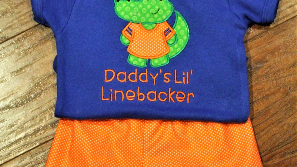 Daddy's Little Linebacker orange and blue football bodysuit baby shower gift