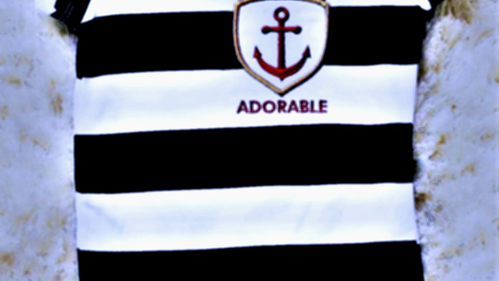 Nautical navy blue and white striped bodysuit captain adorable
