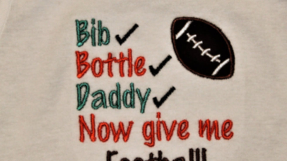 Teal and orange football bodysuit Bib bottle Daddy baby boy gift baby shower