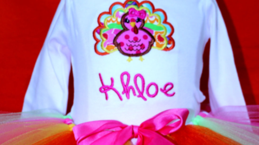 Personalized Thanksgiving outfit hot pink orange turkey shirt for girls