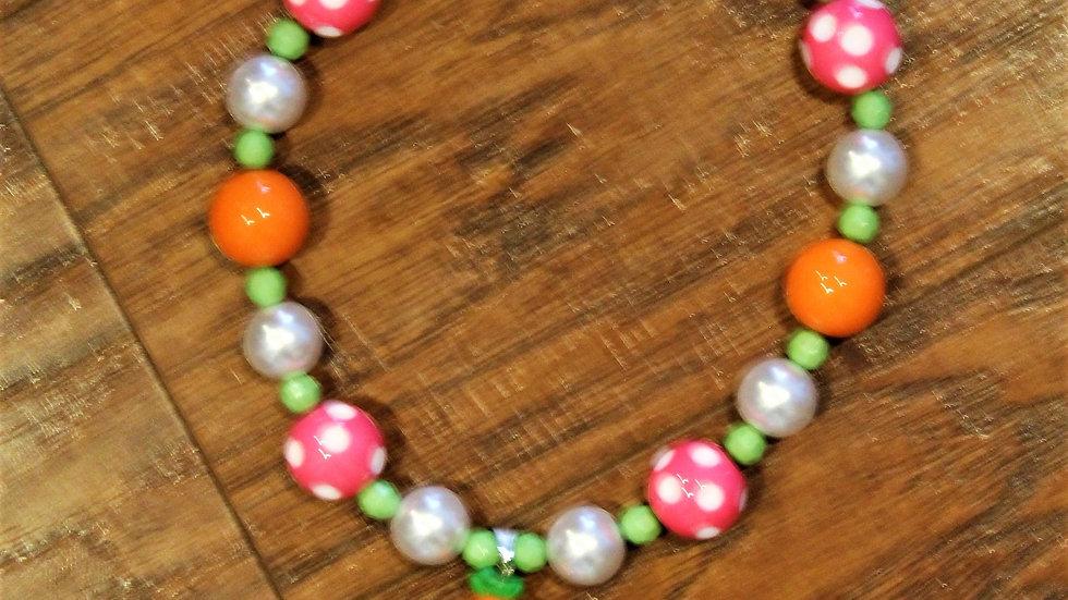 Girl bubblegum bead carrot Easter necklace