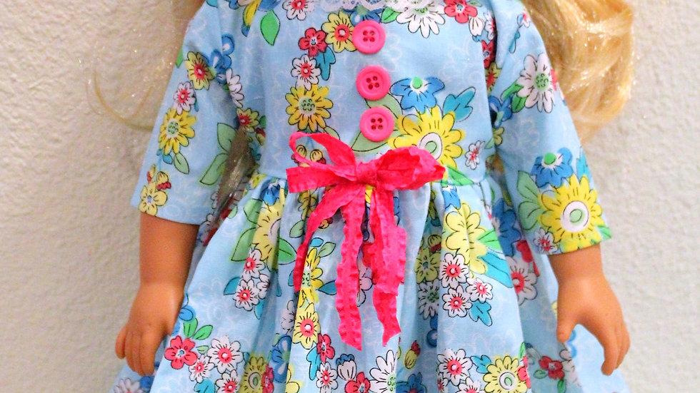 """Blue floral dress for 18"""" doll fits AG dolls light blue flower dress"""