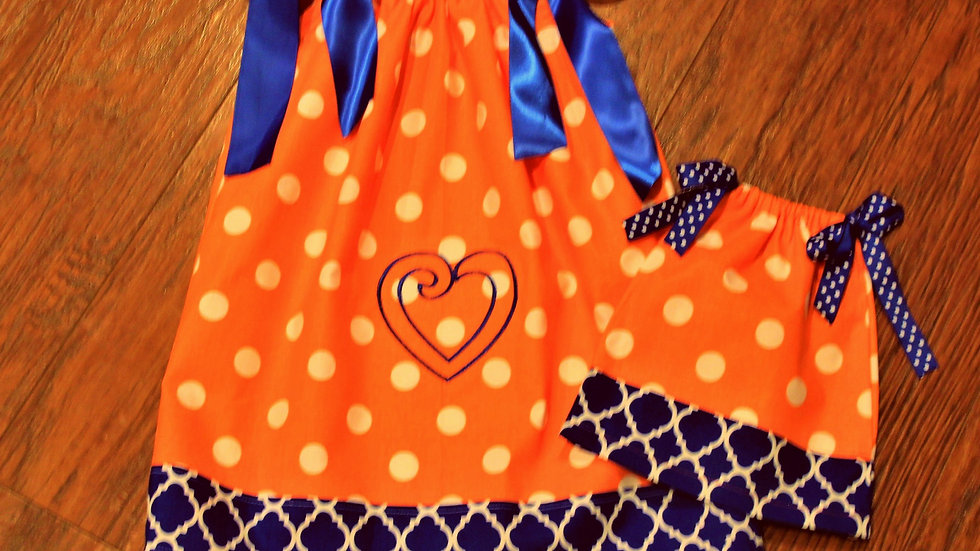Girl and doll orange and blue pillowcase dress and necklace