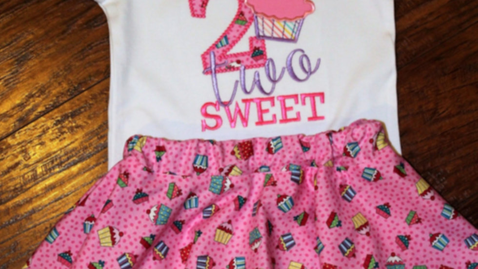 Two 2nd girl birthday pink cupcake second birthday shirt twirl skirt
