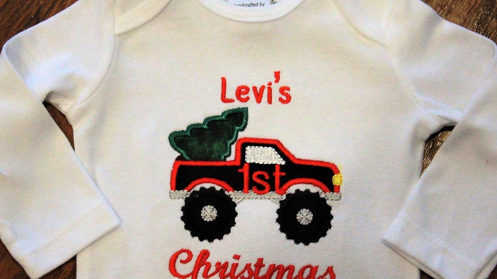 Personalized baby boy 1st Christmas pickup truck bodysuit first Christmas shirt