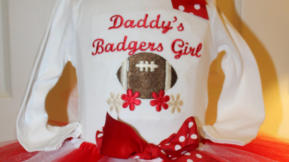 Daddy's Badgers Girl football outfit red and white baby girl tutu