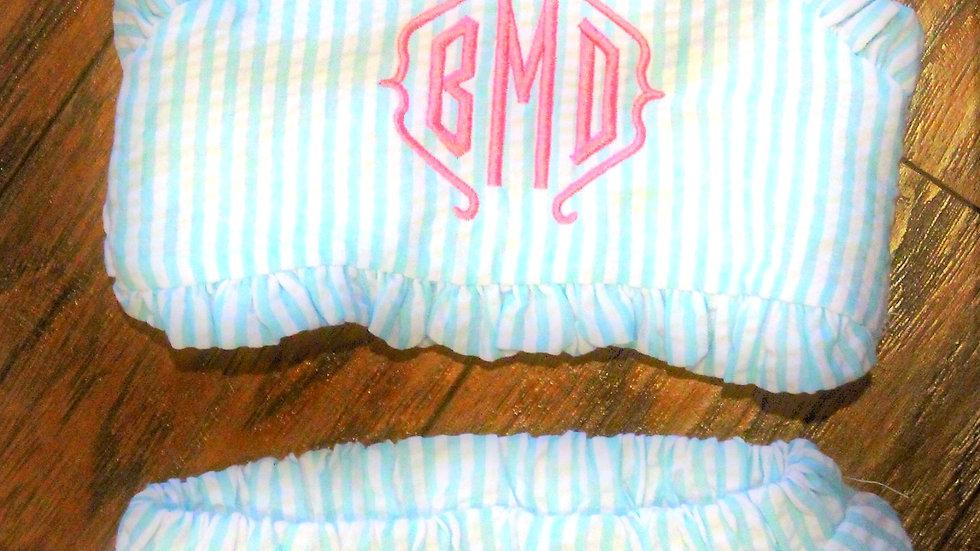 Baby girl monogrammed 2 piece bathing suit toddler girl aqua blue stripe suit